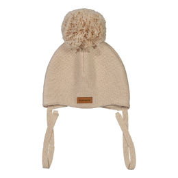 METSOLA - Knitted Baby Beanie, 1 Pom Pom, Sand of Africa