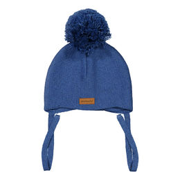 METSOLA - Knitted Baby Beanie, 1 Pom Pom, Dark Denim