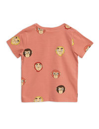 Mini Rodini - Monkeys aop ss tee, Pink
