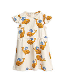Mini Rodini - Whale aop wing dress, Orange