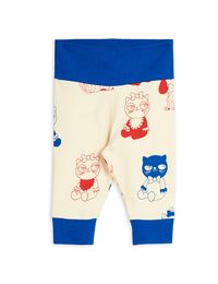 Mini Rodini - Minibaby aop nb leggings, Offwhite