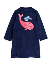Mini Rodini - Whale sp terry robe, Navy