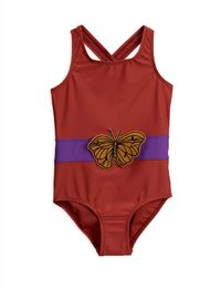 Mini Rodini - Butterfly sporty swimsuit UPF 50+, Red