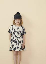 Papu - LINEN DRESS Balloon, Ice cream / Black