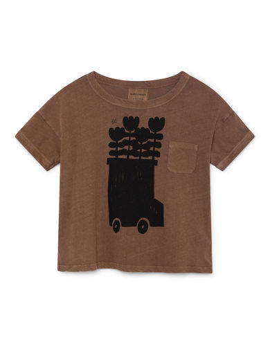 Bobo Choses - Flower Bus Linen T-Shirt, Clove (119013)
