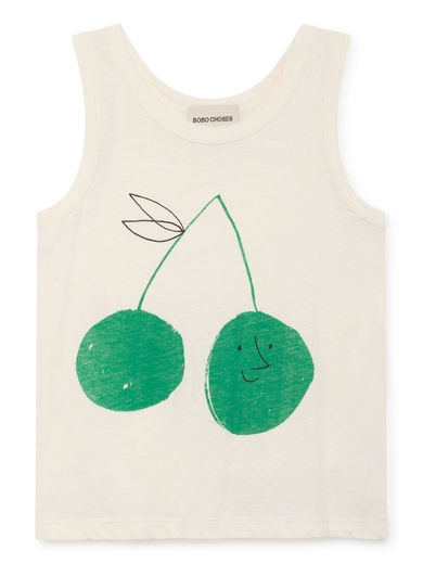 Bobo Choses - Cherry Linen Tank Top, Blanc de (119016)