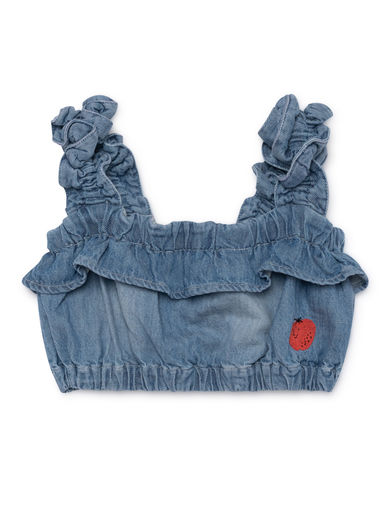 Bobo Choses - Ruffles Denim Top, Asley (119054)