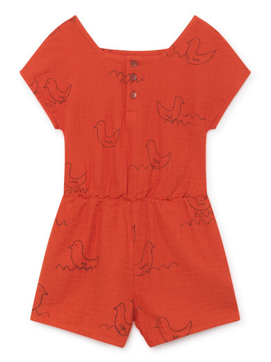 Bobo Choses - Geese Sleeveless Playsuit, Red (119081)