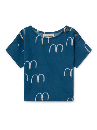 Bobo Choses - Birds Short Sleeve Shirt, Seaport (119183)