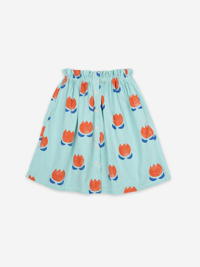 Bobo Choses - Chocolate Flowers All Over Buttoned Midi Skirt, 121AC089