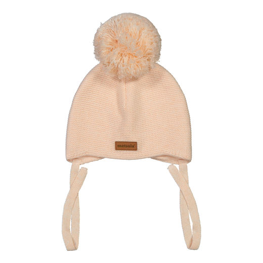 METSOLA - Knitted Baby Beanie, 1 Pom Pom, Pearl Blush