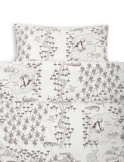 Mini Rodini - Croco map bed set baby, offwhite