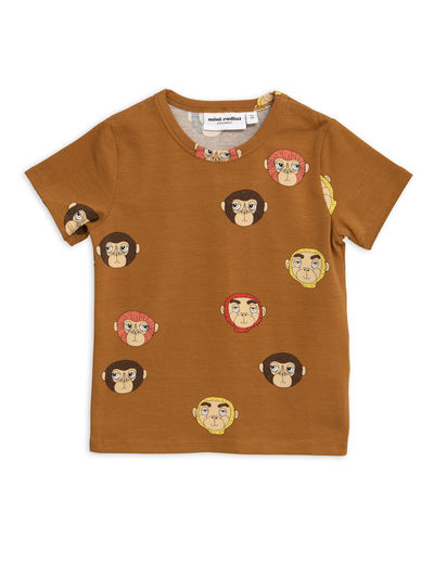 Mini Rodini - Monkeys aop ss tee, Brown