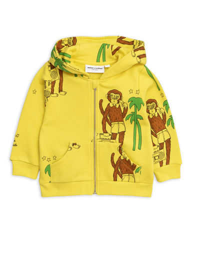 Mini Rodini - Cool monkey aop zip hood, Yellow