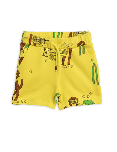 Mini Rodini - Cool monkey aop sweatshorts, Yellow