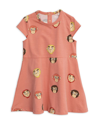 Mini Rodini - Monkeys aop ss dress, Pink