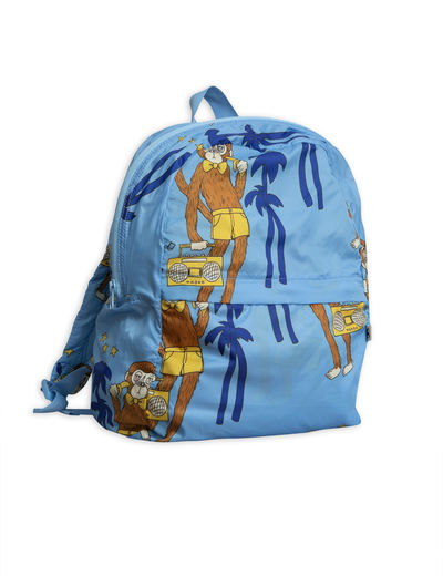 Mini Rodini - Cool Monkey Light Weight Backpack, Light blue