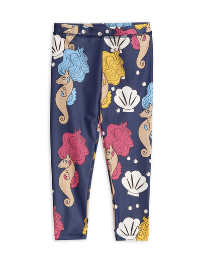 Mini Rodini -  Seahorse shiny UV leggings (UPF 50+), Navy
