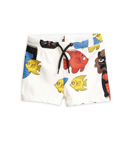 Mini Rodini - Cat mermaid swimpants (UPF 50+), Offwhite