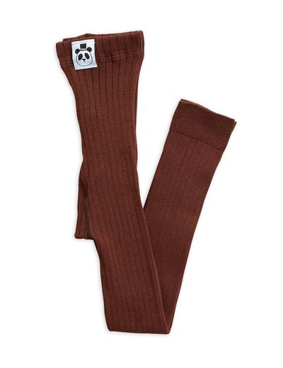 Mini Rodini - Ribbed leggings, brown
