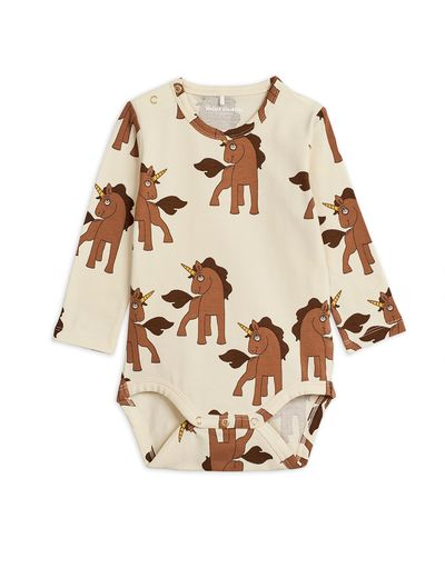 Mini Rodini - Unicorns aop ls body, Offwhite