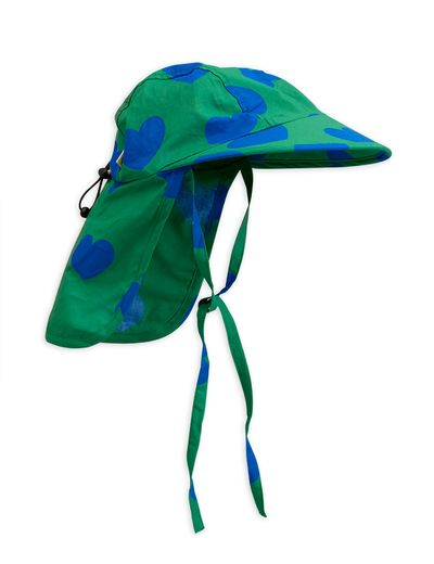 Mini Rodini - Hearts sun cap, Green