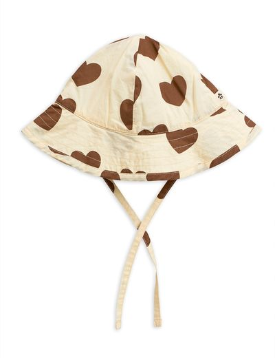 Mini Rodini - Hearts sun hat, Offwhite