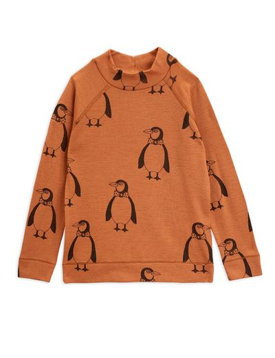 Mini Rodini - Penguin wool ls tee, Brown