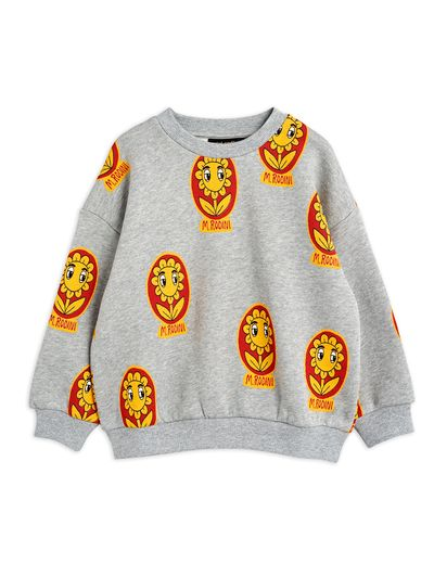 Mini Rodini - Flower aop sweatshirt, Grey melange