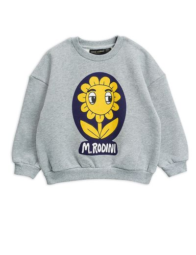 Mini Rodini - Flower sp sweatshirt, Grey melange