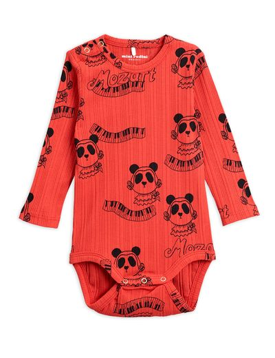 Mini Rodini - Mozart aop ls body, Red