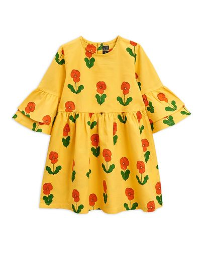 Mini Rodini - Violas woven flared sleeve dress, Yellow