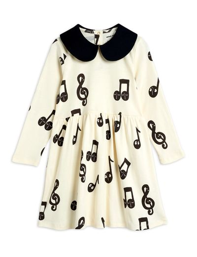 Mini Rodini - Notes aop ls dress, Offwhite