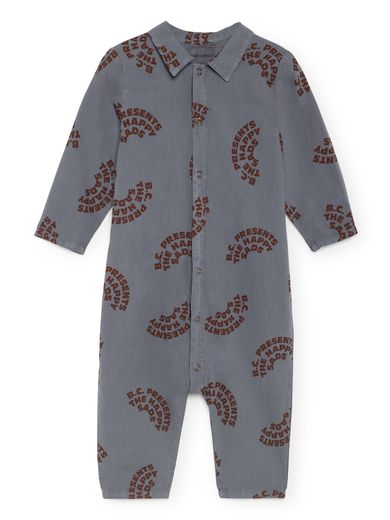 Bobo Choses - The Happy Sads Buttons Playsuit, Dusty Blue