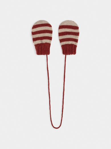 Bobo Choses - Red Striped Mitten Gloves (219261)