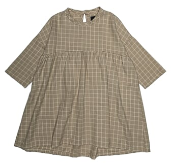 Monkind - NEUTRAL CHECKED DRESS, ECRU