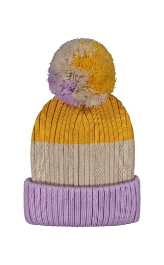 Mainio - 3-COL BEANIE WITH POMPOM, lavender/yellow/oat