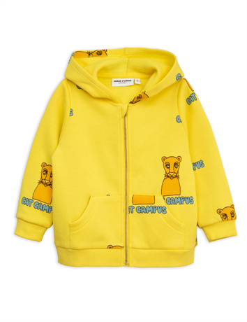 Mini Rodini - Cat campus zip hood, yellow
