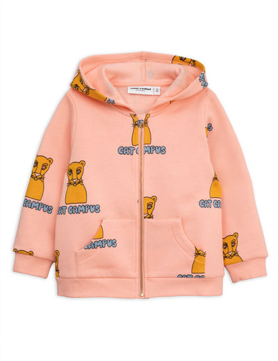 Mini Rodini - Cat campus zip hood, pink