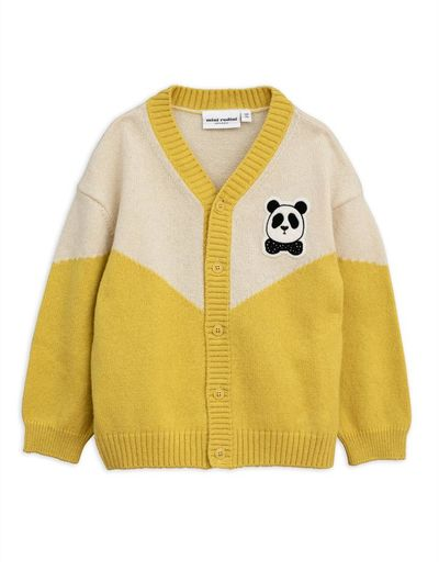 Mini Rodini - Panda knitted wool cardigan, yellow