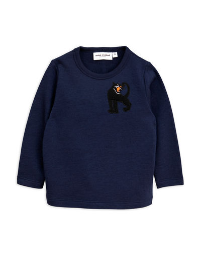 Mini Rodini - Panther wool sweatshirt, navy