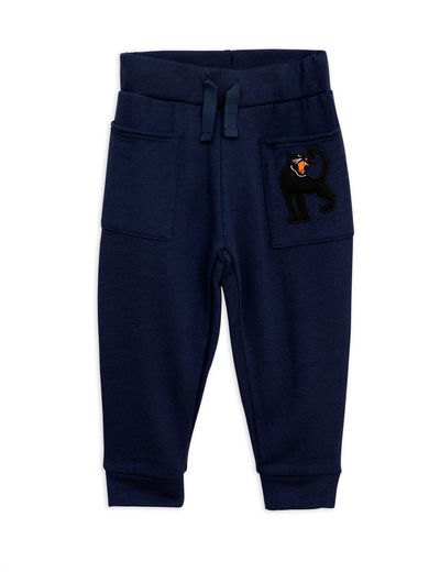 Mini Rodini - Panther wool sweatpants, navy
