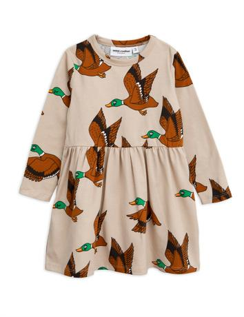 Mini Rodini - Ducks aop ls dress, beige