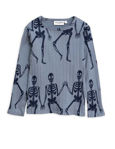 Mini Rodini - Skeleton aop ls tee, Blue