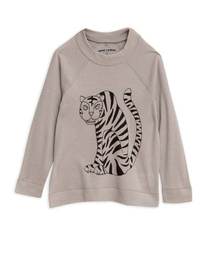 Mini Rodini - Tiger sp wool ls tee, Grey