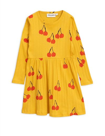 Mini Rodini - Cherry ls dress, yellow
