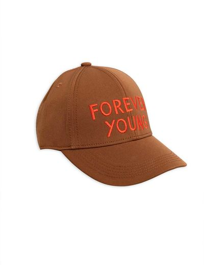 Mini Rodini - Forever young embroidery cap, brown
