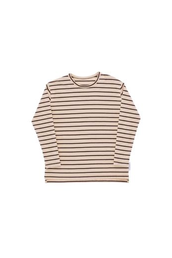 Small stripes ls relaxed tee, nude/plum