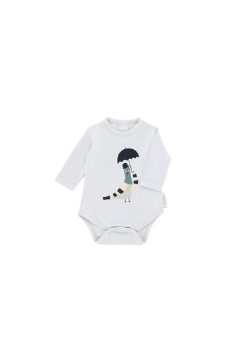 Tinycottons - Pigeon graphic ls body, light grey/navy/beige