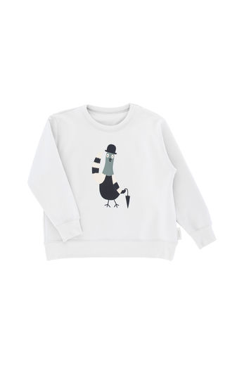 Tinycottons - 'gentle-pigeon' graphic sweatshirt, light grey